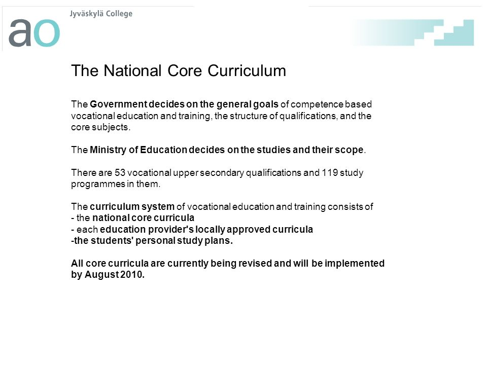 The National Core Curriculum