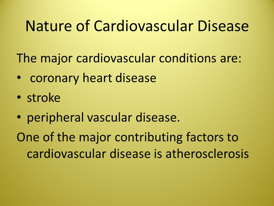 an essay on heart disease and the cardiovascular condition Heart (cardiovascular) disease (cvd, heart disease) is a variety of types of conditions that affect the heart, for example, coronary or valvular heart disease cardiomyopathy, arrhythmias, and heart infections.