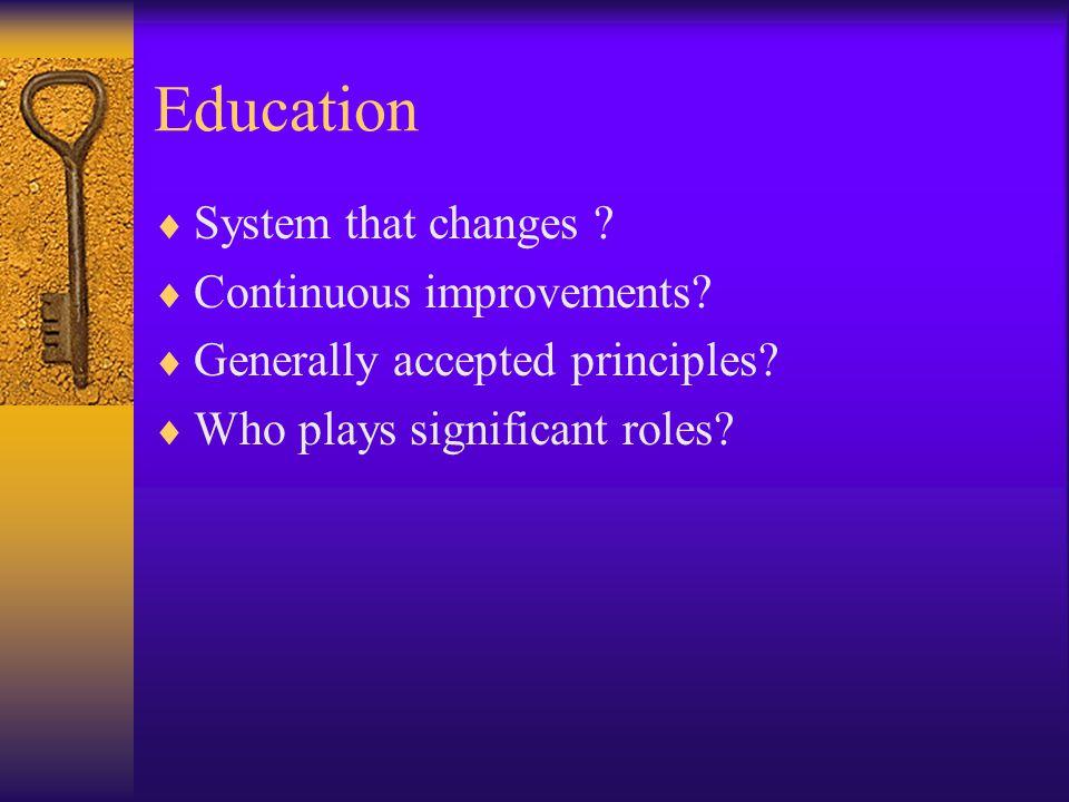 Education System that changes Continuous improvements