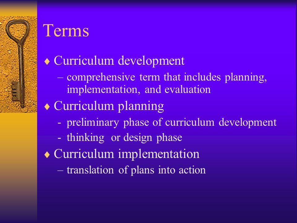 Terms Curriculum development Curriculum planning