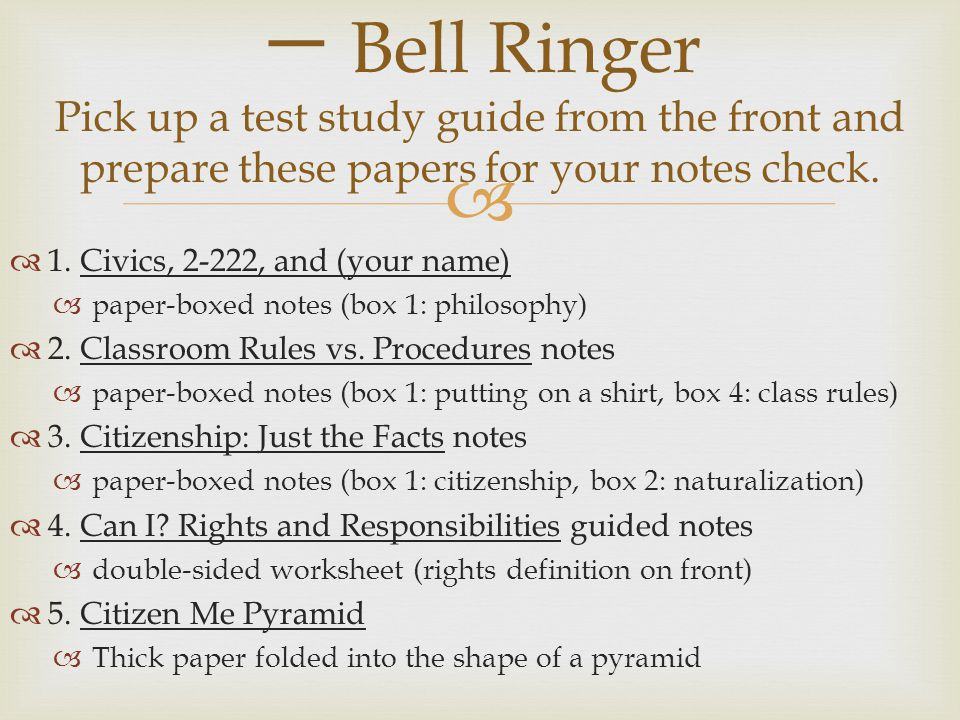 bell ringer pick up a test study guide from the front and prepare these papers for your notes. Black Bedroom Furniture Sets. Home Design Ideas