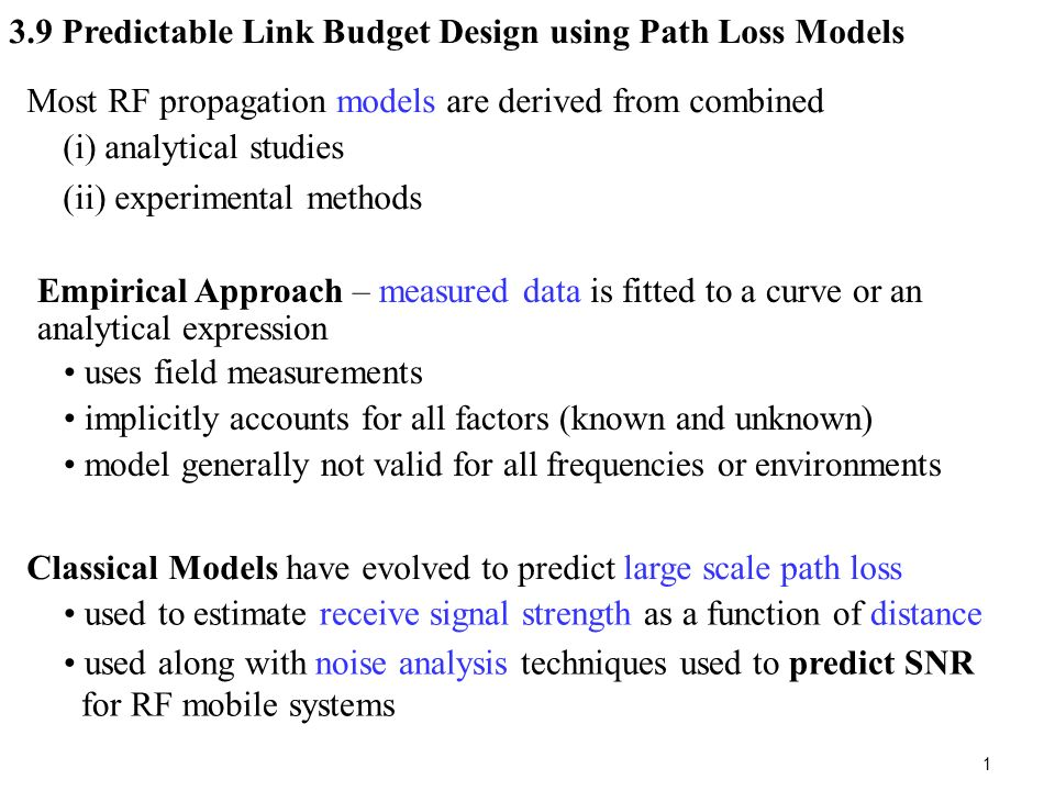 3 9 Predictable Link Budget Design using Path Loss Models