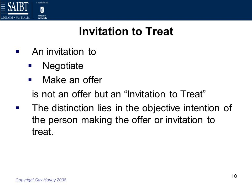 Week 4 law of contract offer and acceptance ppt download 10 invitation to treat stopboris Image collections