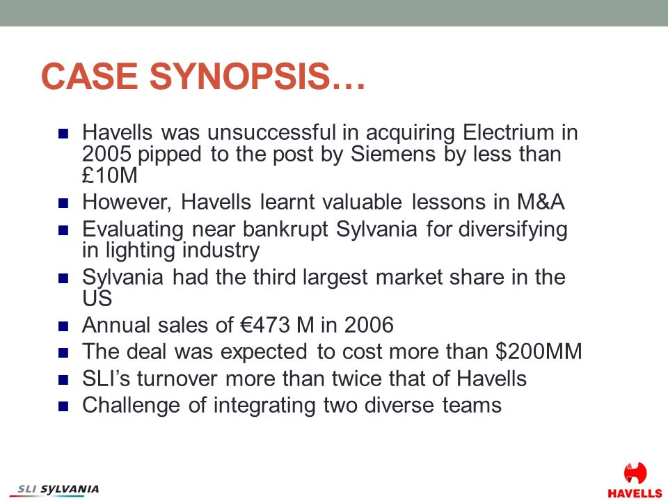 havells india the sylvania acquisition decision Havells india: the sylvania acquisition decision (a) grolsch: growing globally, pankaj ghemawat, steven a altman pg0001-pdf-eng.