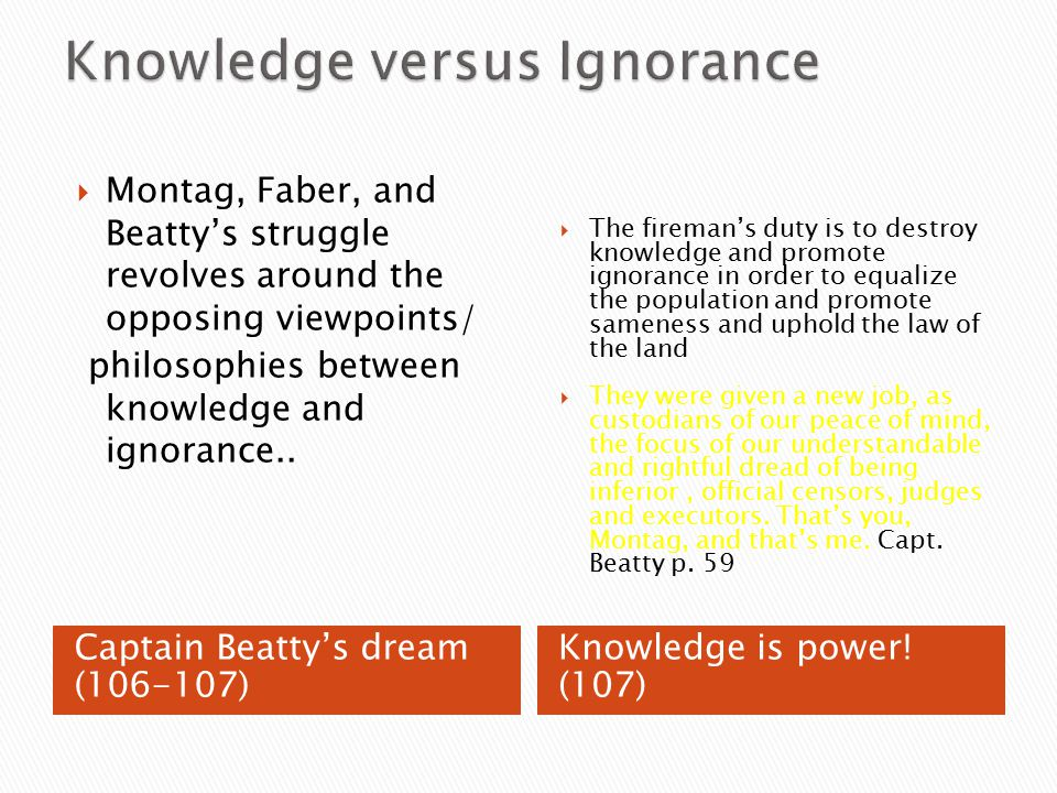 Fahrenheit 451 Knowledge Vs Ignorance Quotes With Page Numbers