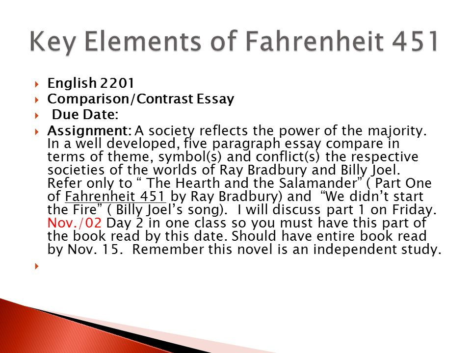 fahrenheit 451 essays on society Fahrenheit 451 is a novel by ray bradbury about a society where the people don t have any concerns for others everyone is only after the materialistic.