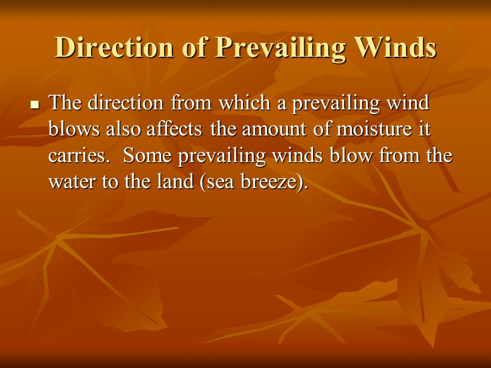 Direction of Prevailing Winds
