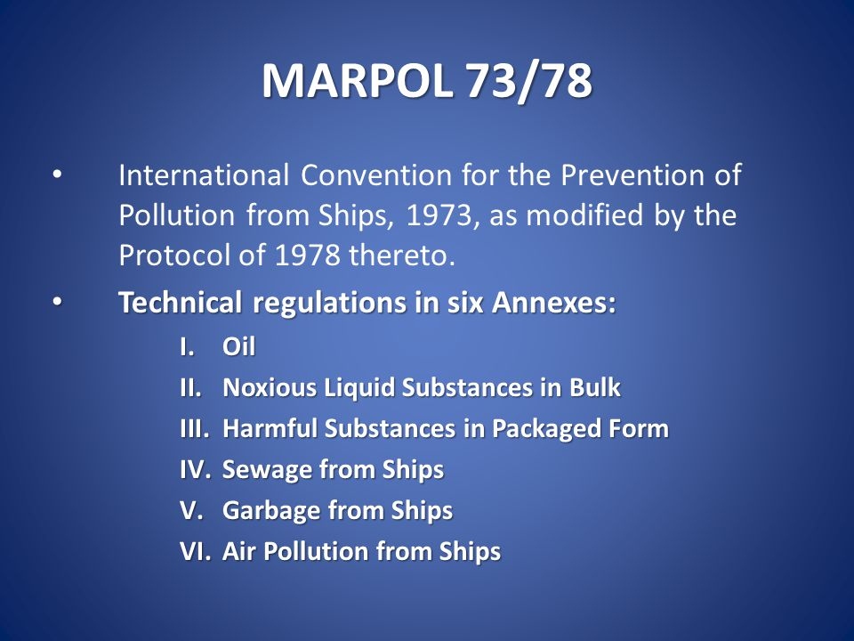 Marpol 7378 International Convention For The Prevention Of