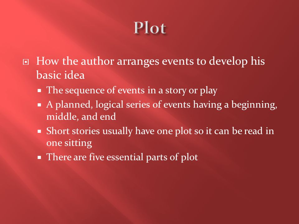 Plot How the author arranges events to develop his basic idea