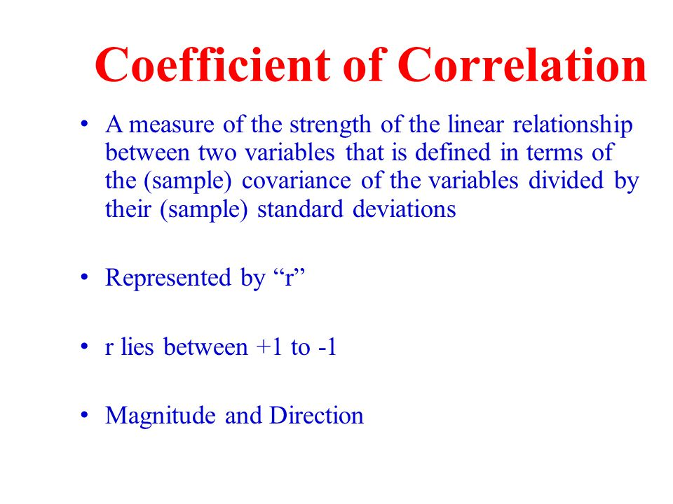 correlation coefficient relationship between two variables