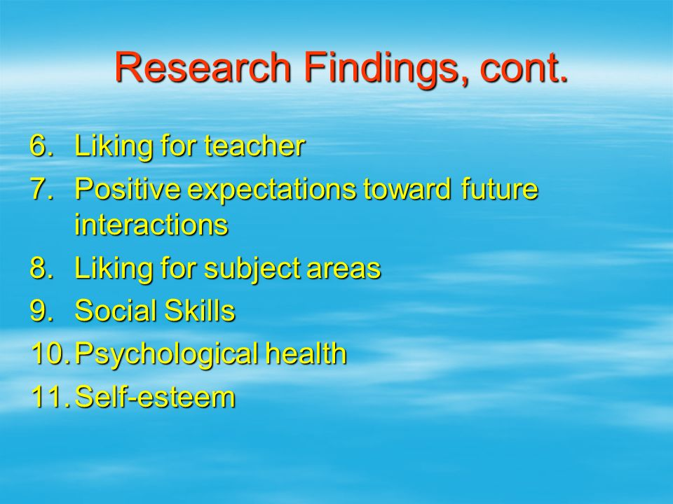 Research Findings, cont.