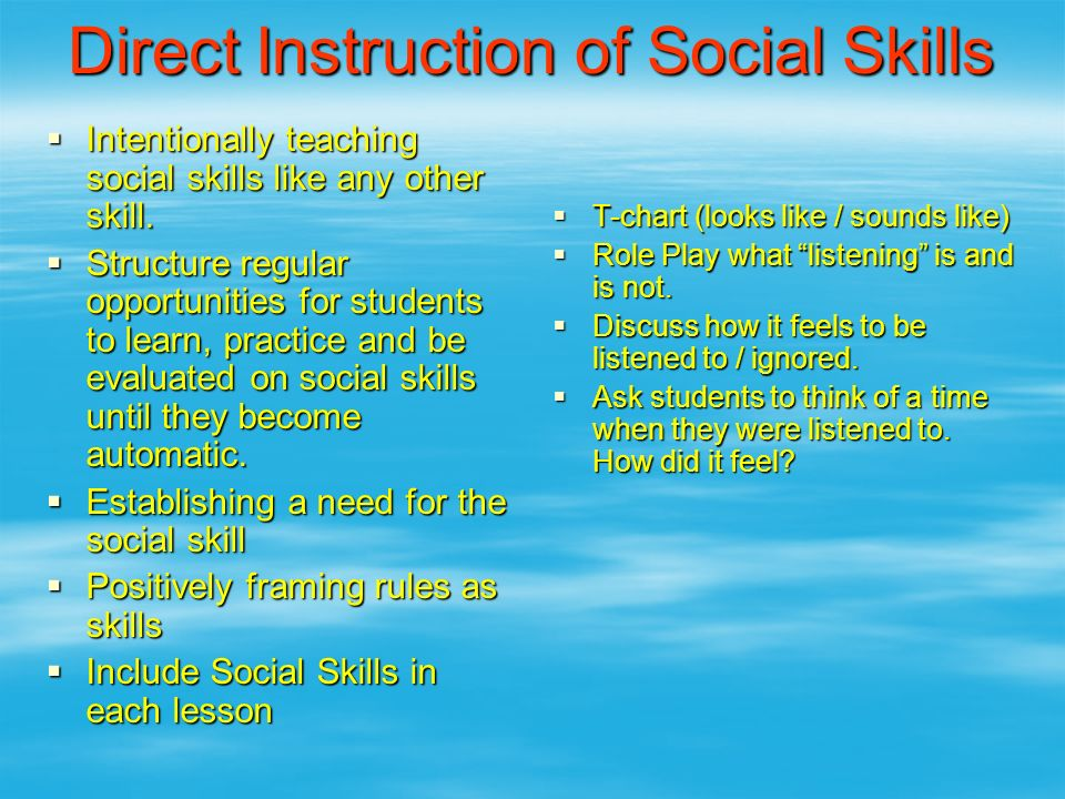 Direct Instruction of Social Skills