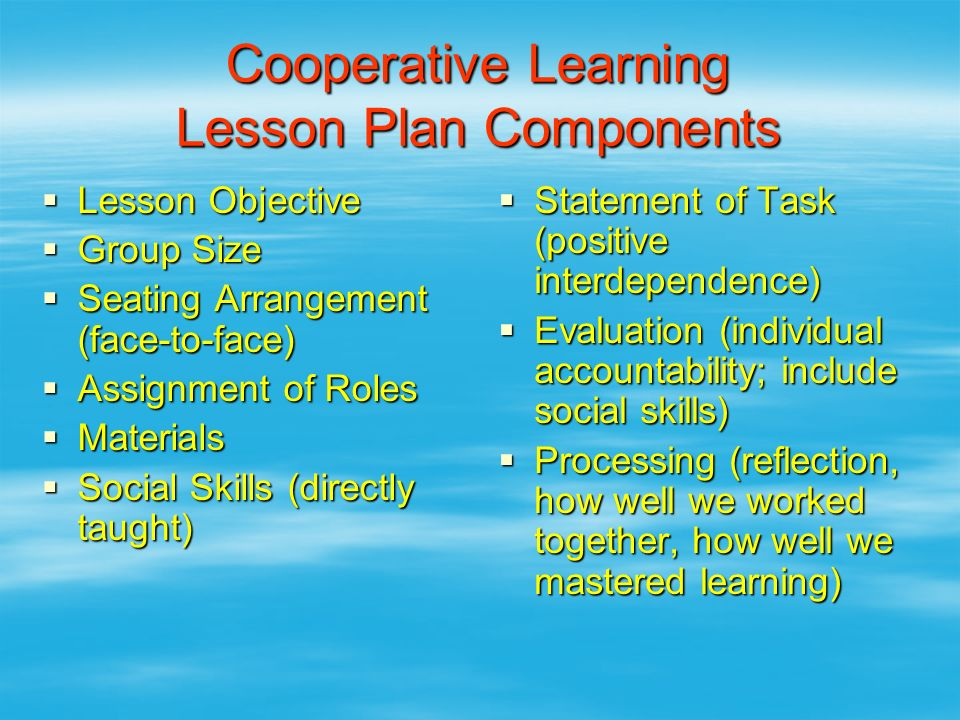 Cooperative Learning Lesson Plan Components