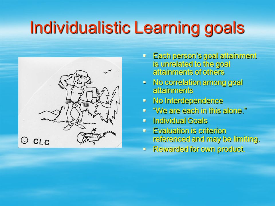 Individualistic Learning goals