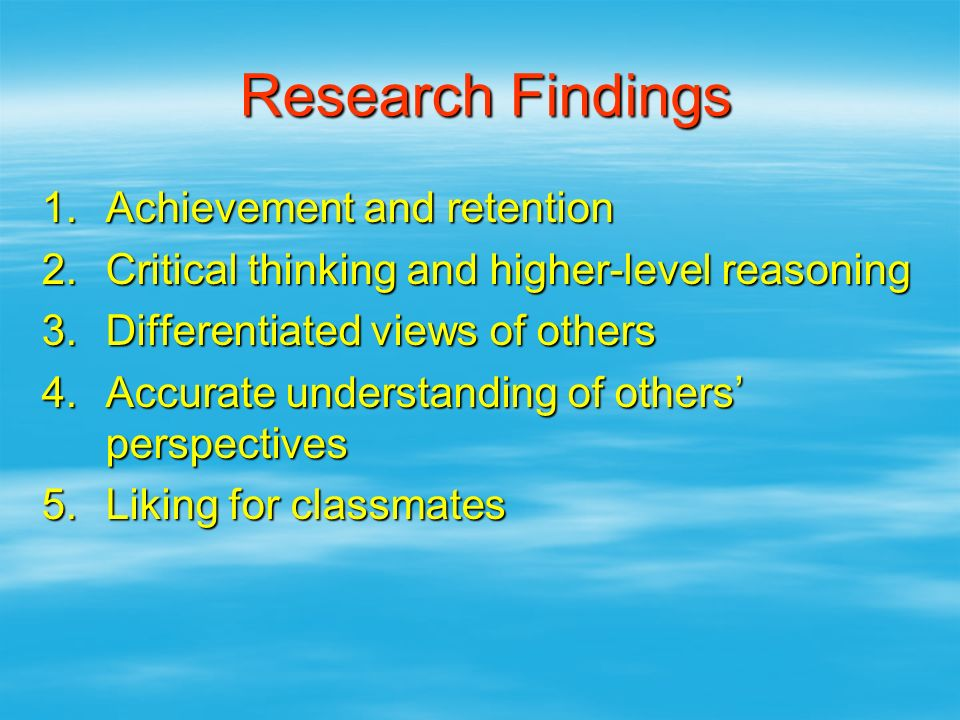 Research Findings Achievement and retention