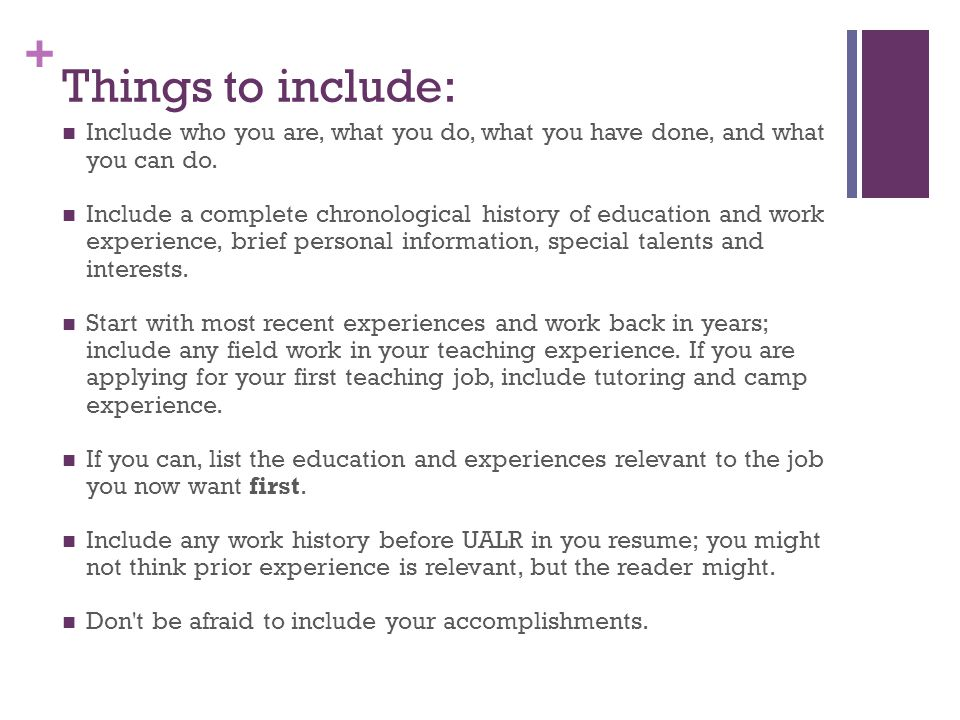 Important Things To Include In Education Resume