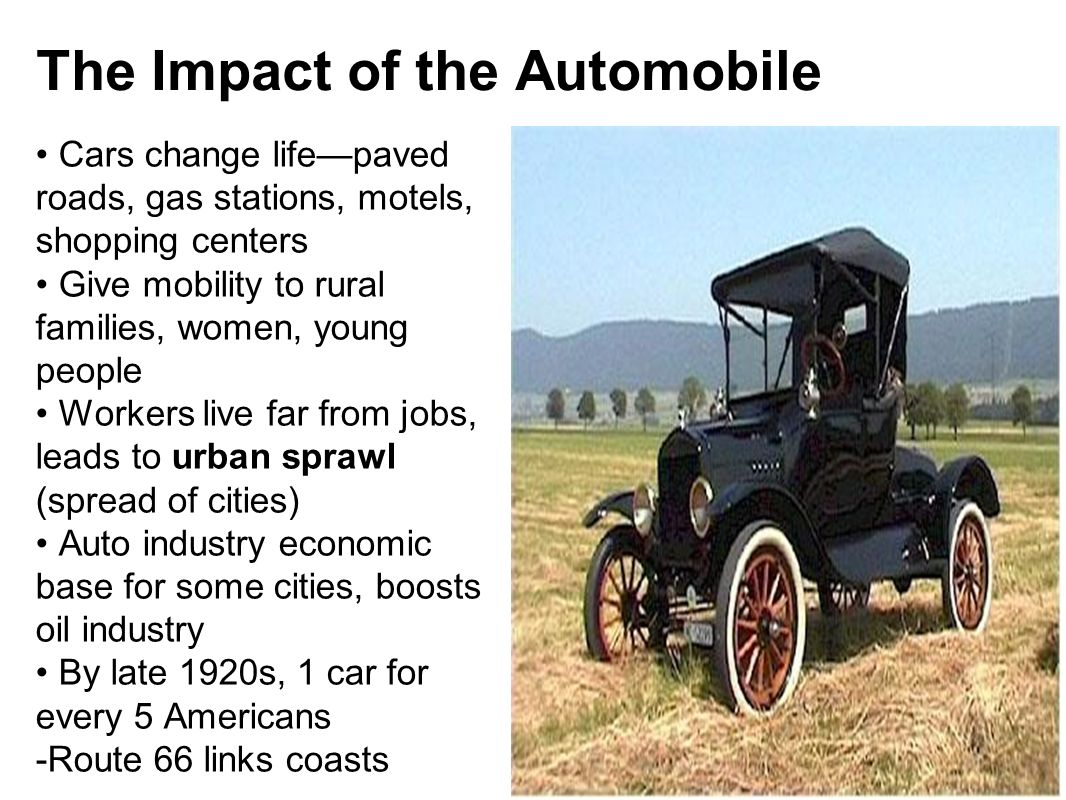 the impact of the automobile on the early 20th century life 19th century communications and transportation first automobile did not appear in labrador households until the first half of the 20th century.