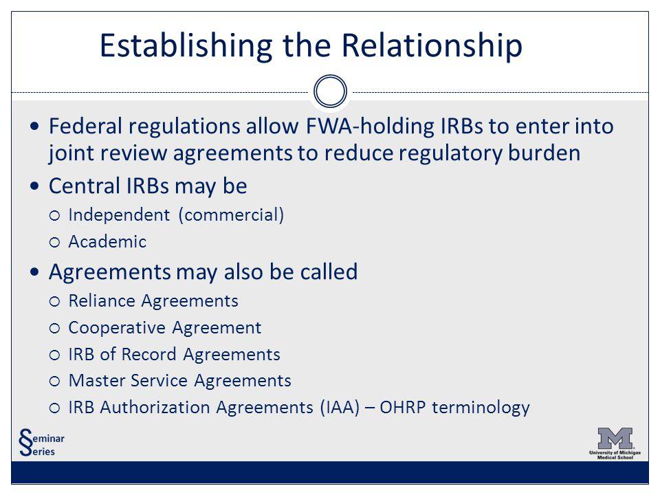 Central irbs ceding irb oversight ppt video online download 4 establishing the relationship platinumwayz