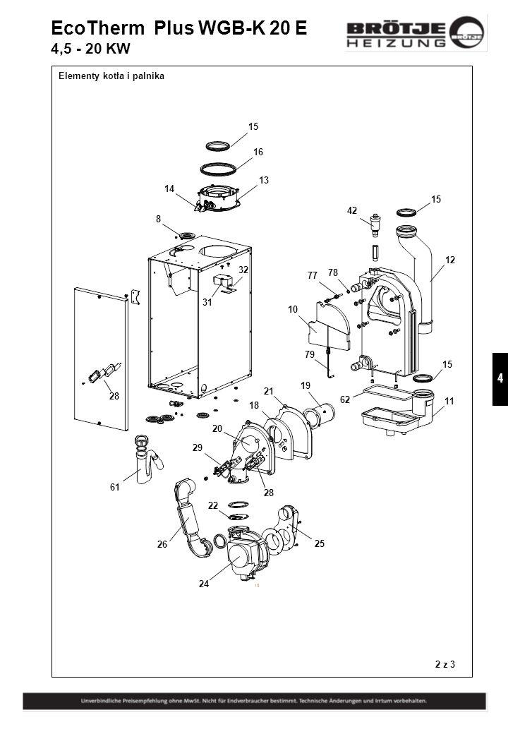 EcoTherm Plus WGB-K 20 E 4,5 - 20 KW Elementy kotła i palnika 15 16 13