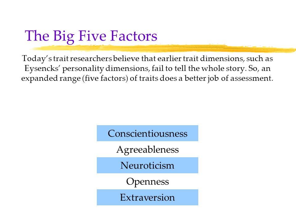 a response to the assessment on extraversion agreeableness conscientiousness neuroticism and opennes Take the classic five-factor 'big five' personality questionnaire based on openness, conscientiousness, extraversion, agreeableness, neuroticism.