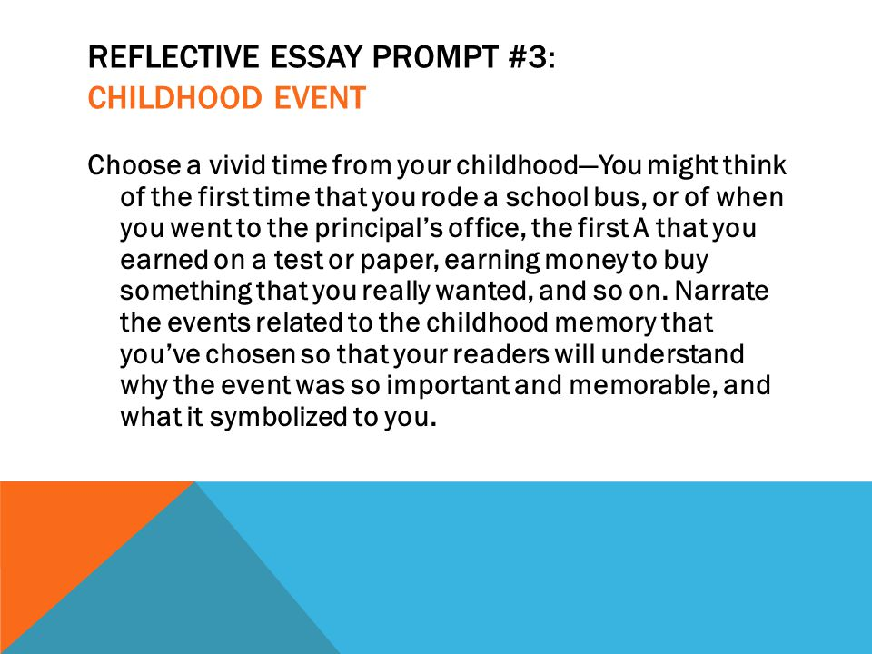 reflective essay on childhood memories I was only child so i spent a lot of time with my parents of all the memories there are unforgettable events that took place in my childhood all of these events brought me joy and happiness andsadness.