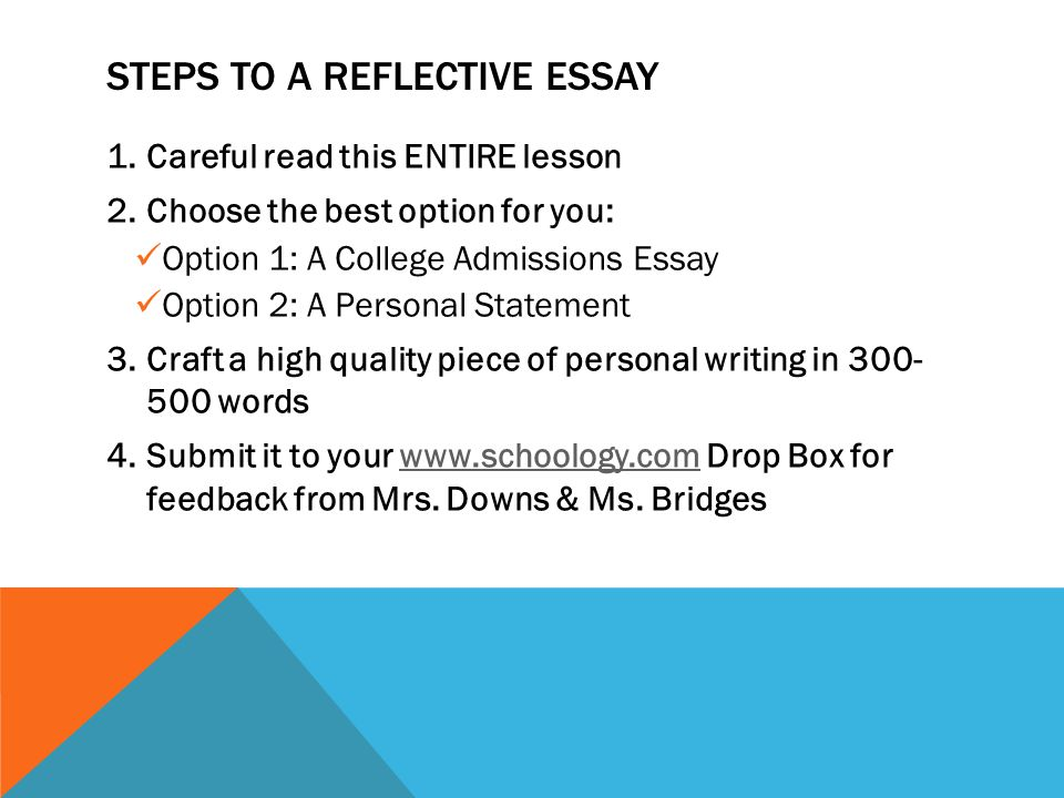 reflective essay steps Steps for writing a reflective essay think of an event which could become the  topic of your essay when you have chosen an event, ask.