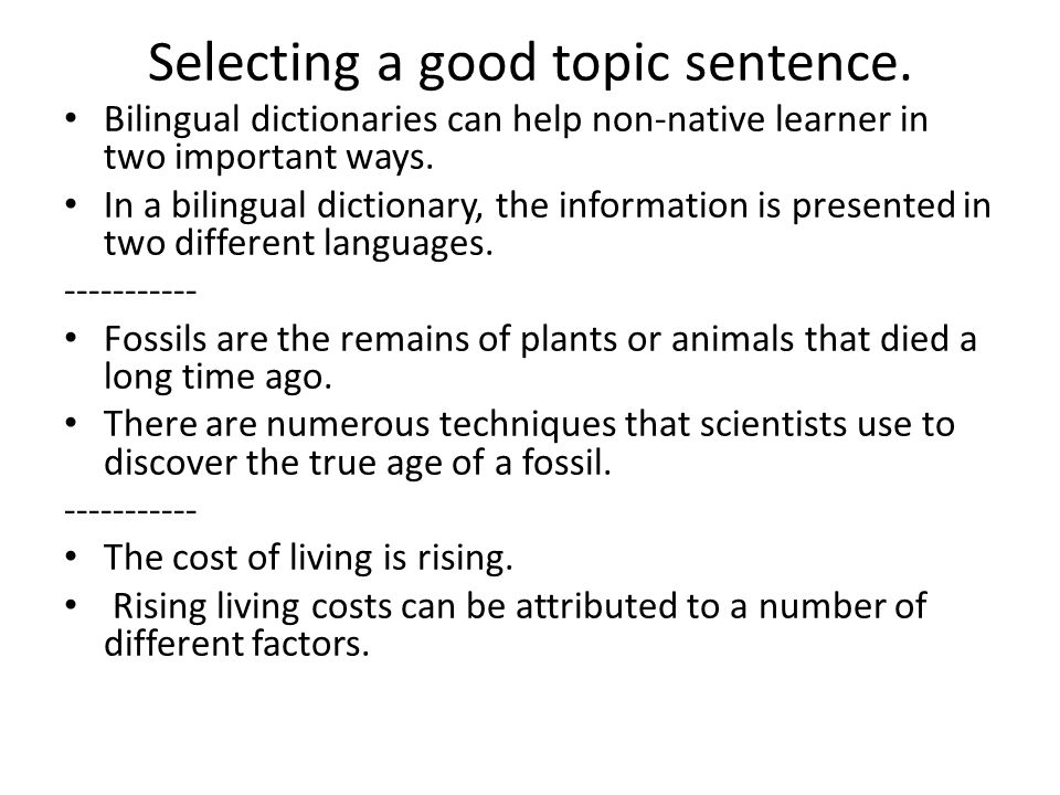 typical paragraph review ppt  selecting a good topic sentence