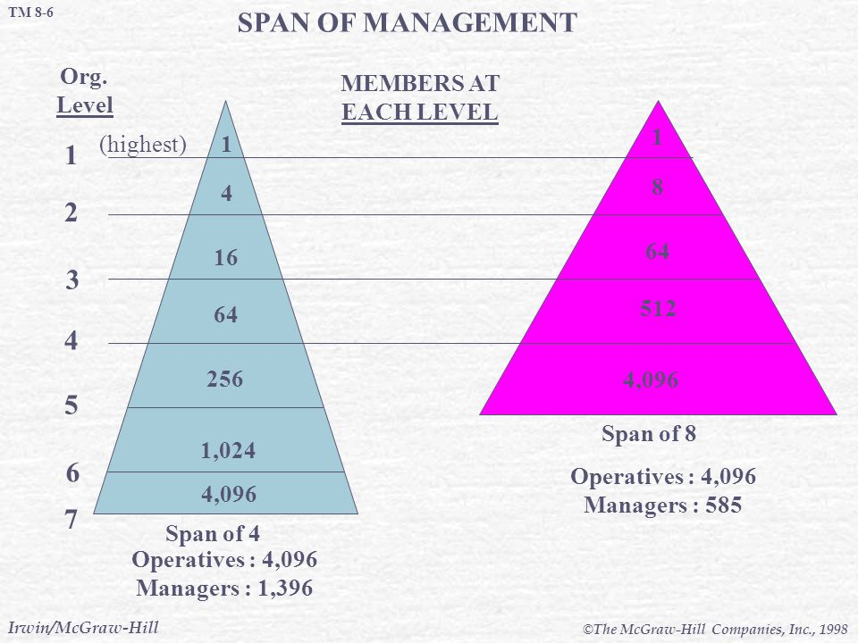 SPAN OF MANAGEMENT 1 2 3 4 5 6 7 Org. Level MEMBERS AT EACH LEVEL 1