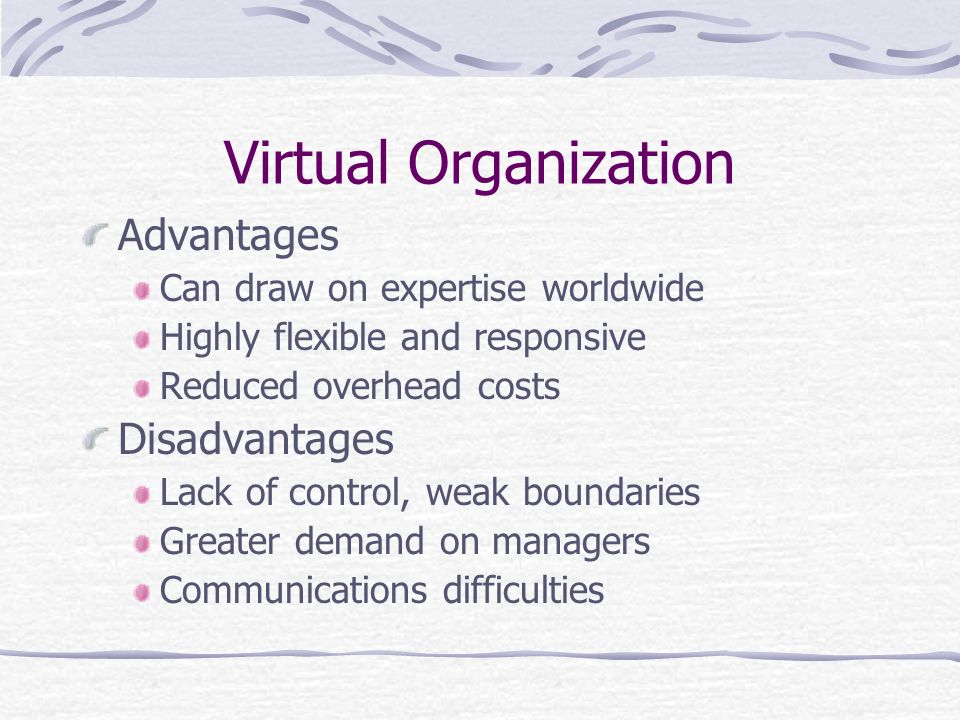 Virtual Organization Advantages Disadvantages