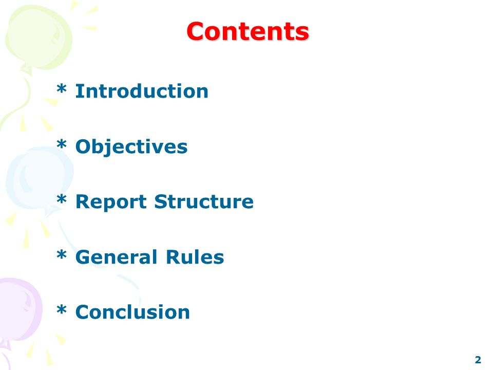 report writing objectives