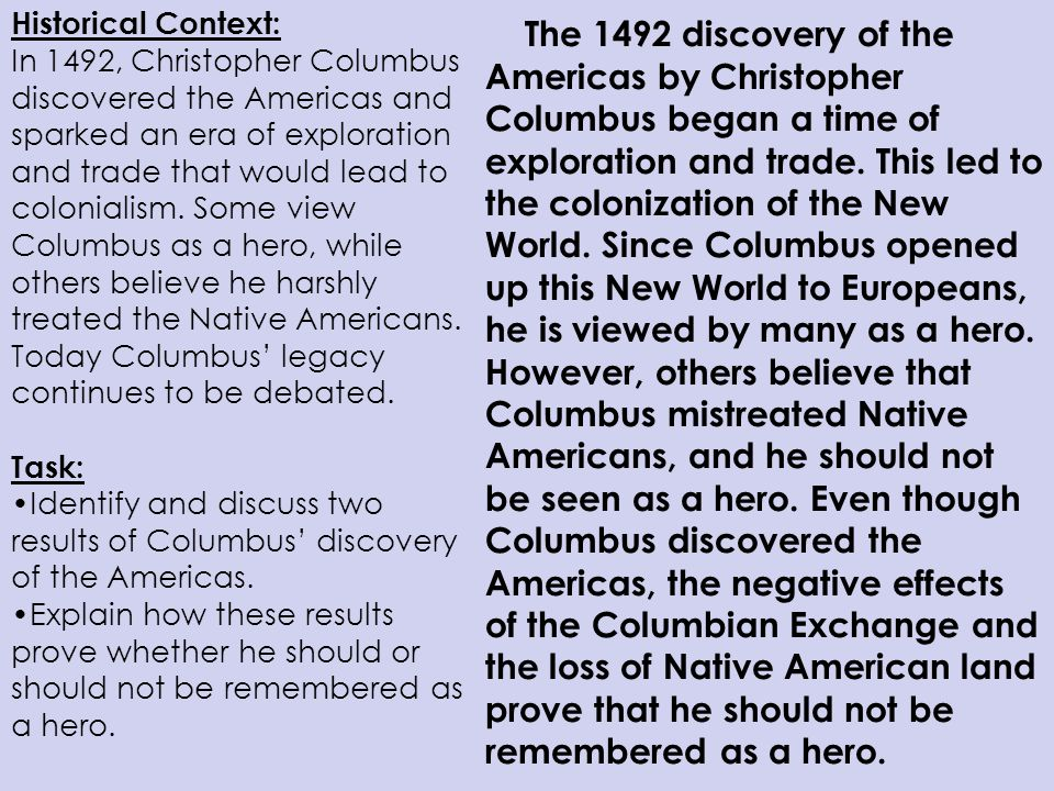 strategies for writing document based essays ppt 9 historical context in 1492 christopher columbus