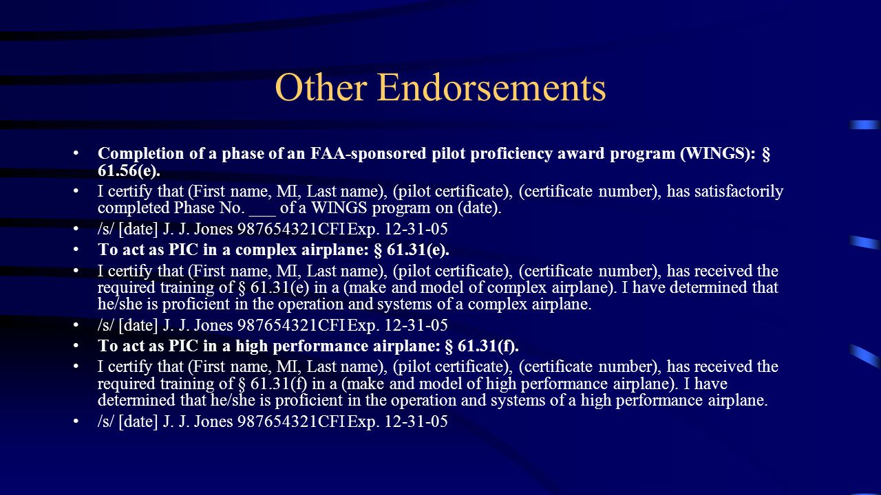 Endorsements ppt download other endorsements completion of a phase of an faa sponsored pilot proficiency award program xflitez Images