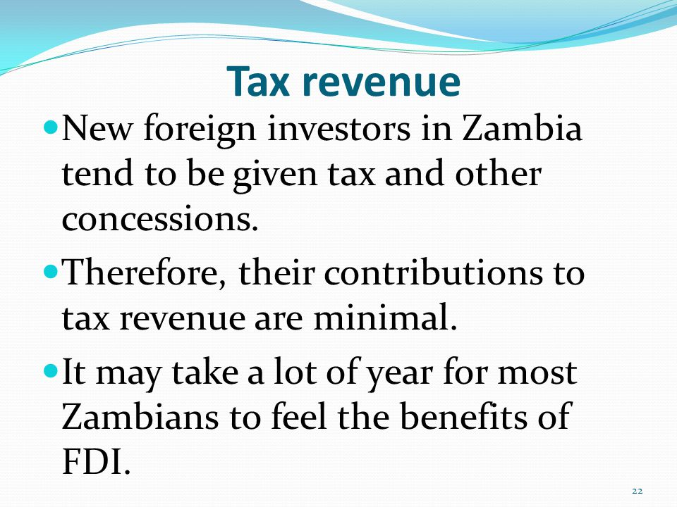 impact of foreign investment in zambia So much has been said about foreign investment in zambia and elsewhere, particularly in the last decade no doubt fdi — by which we mean investment of multinational.