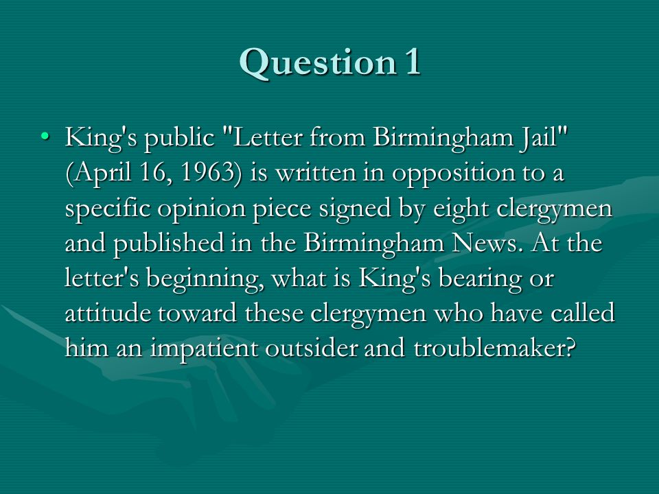 allusions and metaphors in martin luther king jrs letter from the birmingham jail Allusions and metaphors in letter from the birmingham jail martin luther king, jr, in his famous letter from the birmingham jail, responds forcefully yet politely to a public statement made by eight alabama clergymen in 1963.
