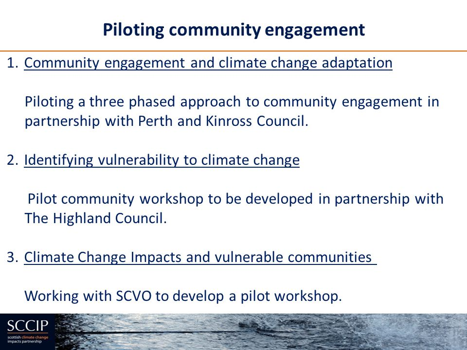 Piloting community engagement