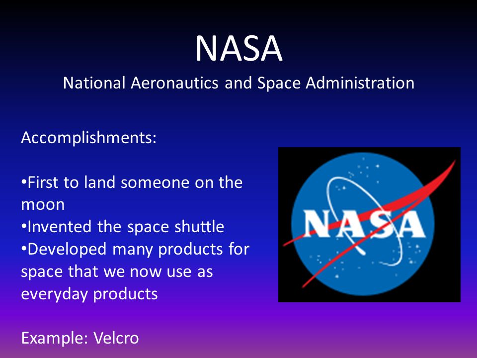 NASA National Aeronautics and Space Administration