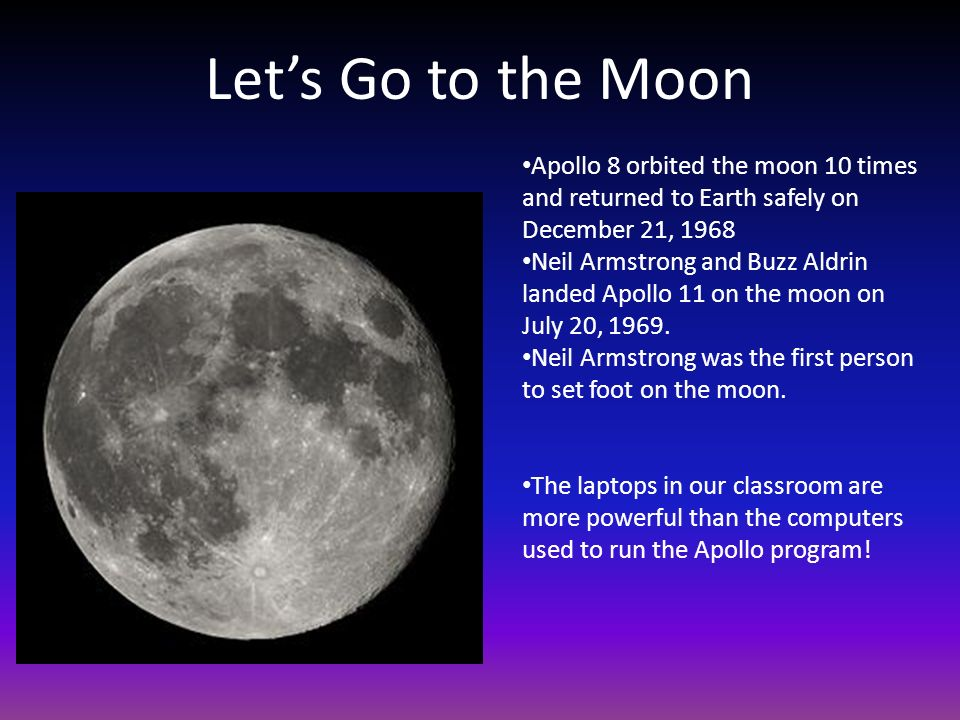 Let's Go to the Moon Apollo 8 orbited the moon 10 times and returned to Earth safely on December 21,