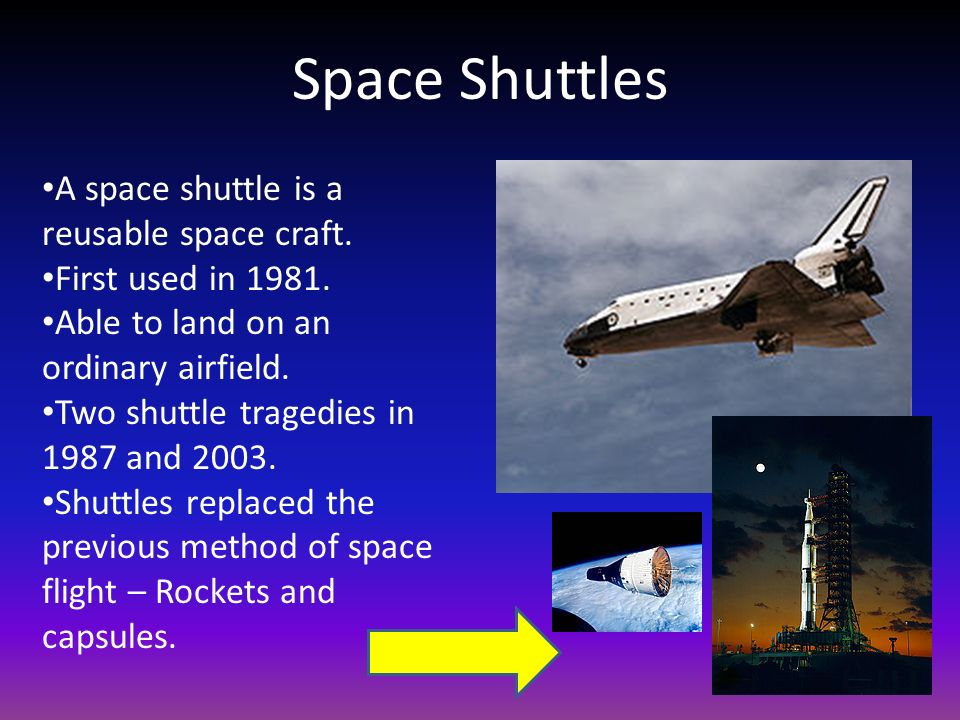 Space Shuttles A space shuttle is a reusable space craft.