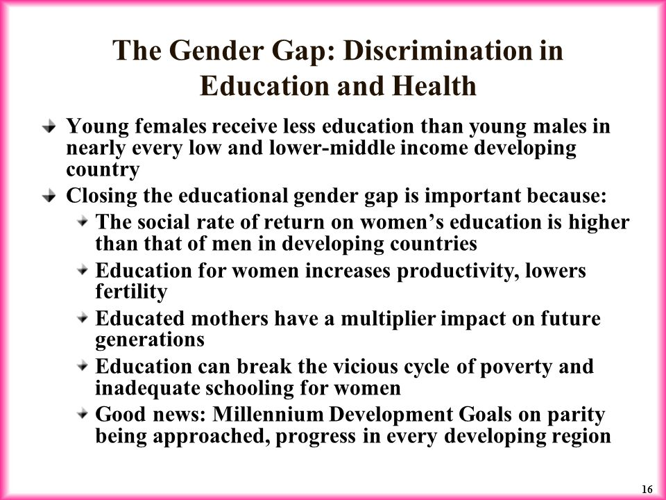 gender equality in education and poverty 2016-2-23  recommendations for moving forward include considering the unique links between gender and extreme poverty  and education, where stark gender  gender equality.