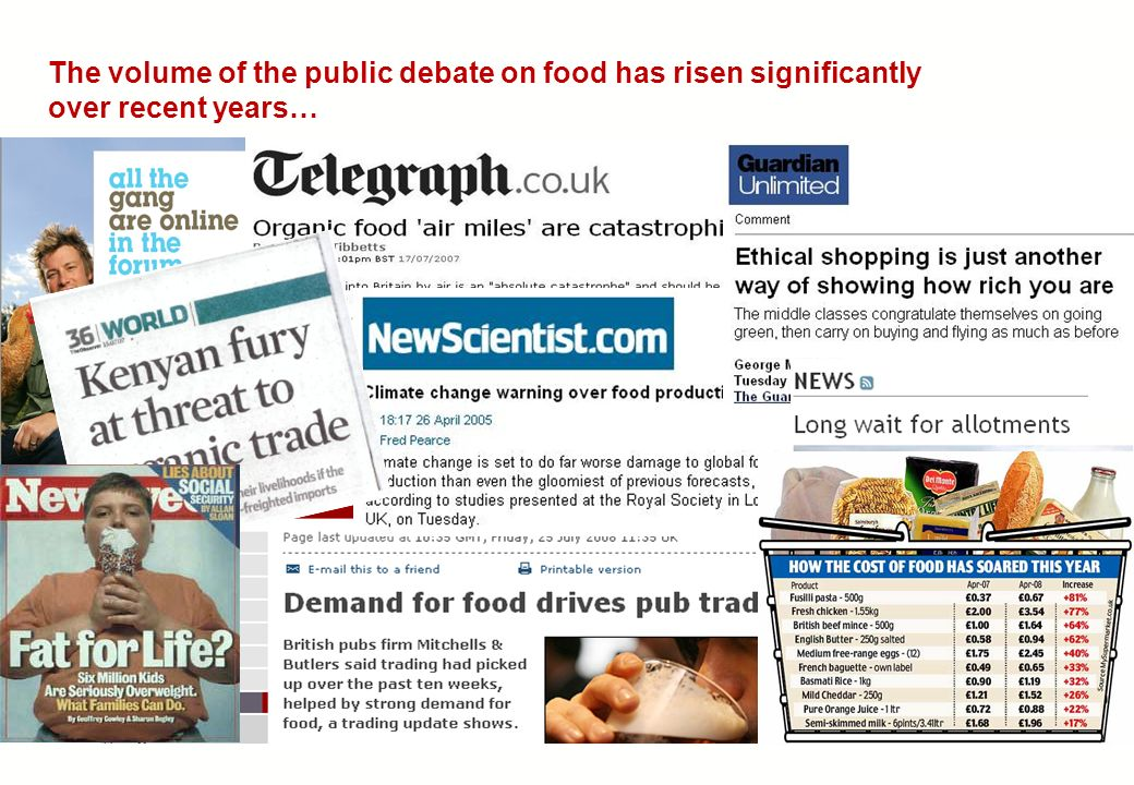 The volume of the public debate on food has risen significantly over recent years…