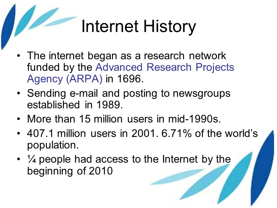the history of advanced research projects agency network arpanet and the internet Internet, arpanet was created by the advanced research projects agency,  before arpanet was created, computer networks had employed a star topology.