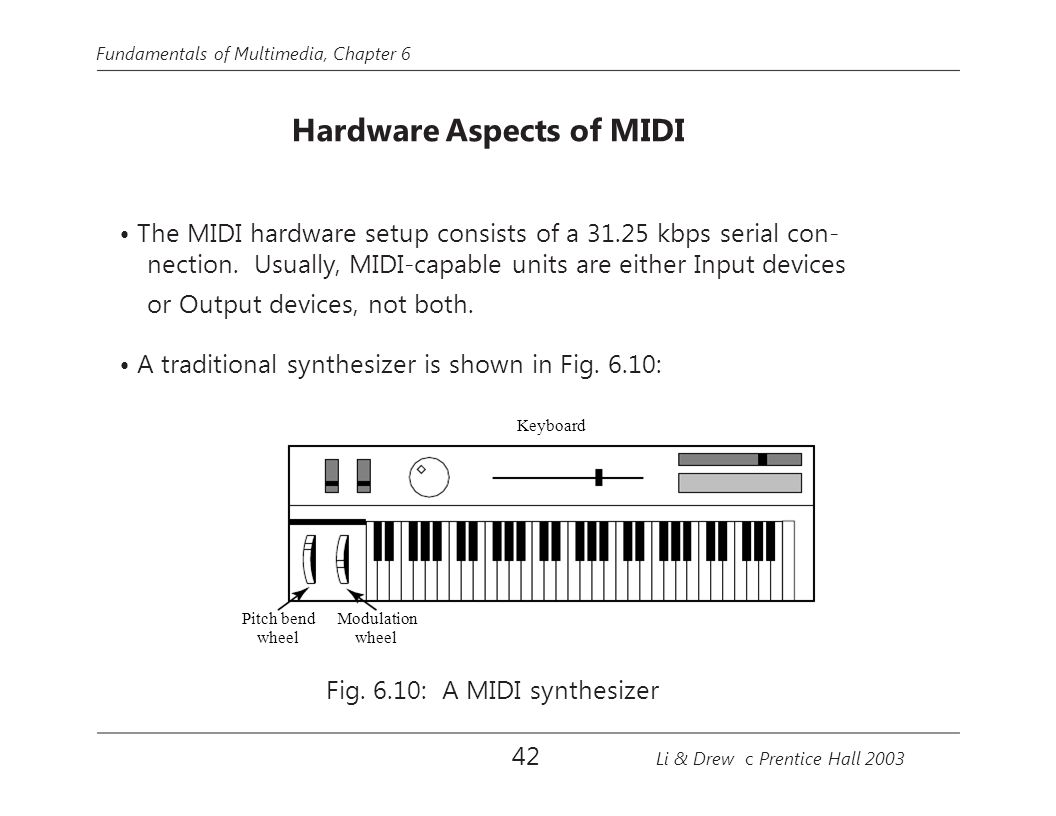 • The MIDI hardware setup consists of a 31.25 kbps serial con-