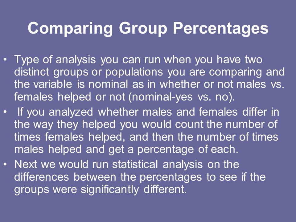 Comparing Group Percentages