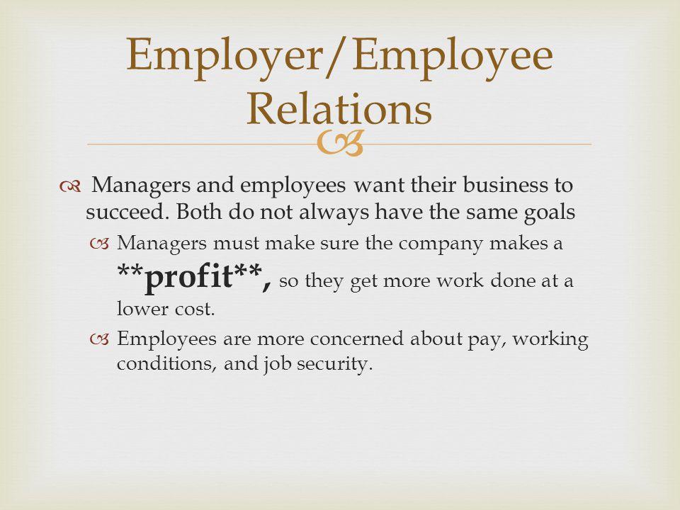 Employer/Employee Relations