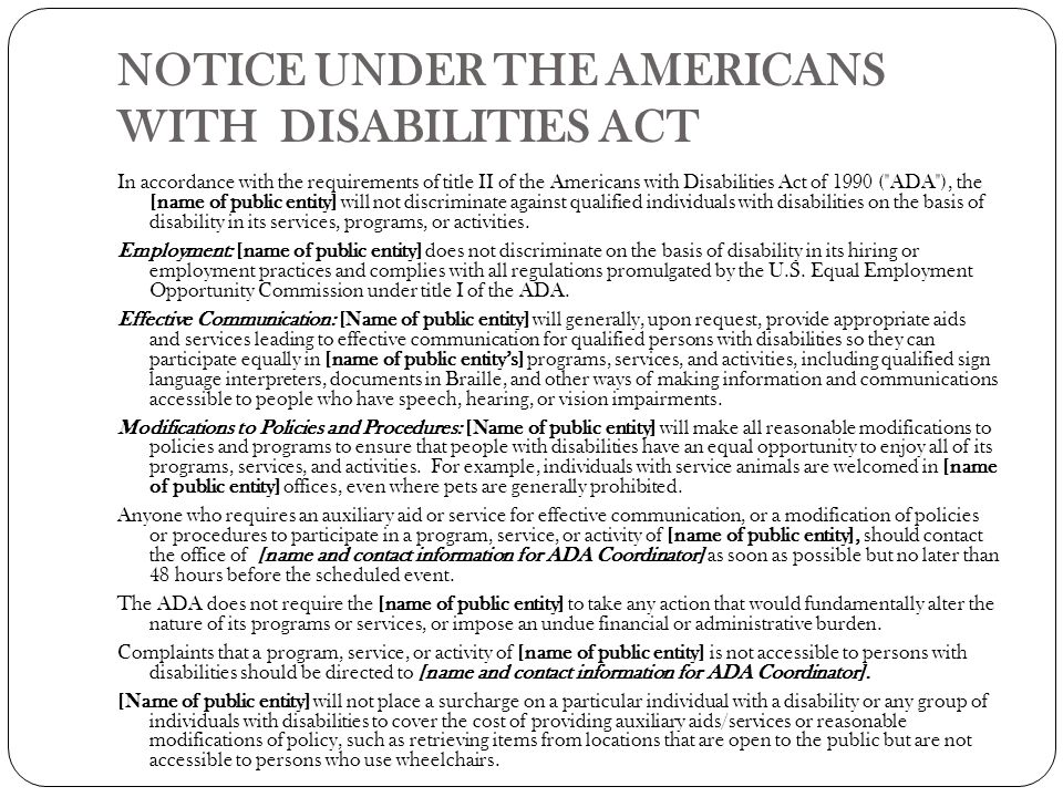 a look at what is covered under the americans with disabilities act The arc blog americans with disabilities act  to bring lawsuits directly under the americans with disabilities act  clarification for who is covered under.