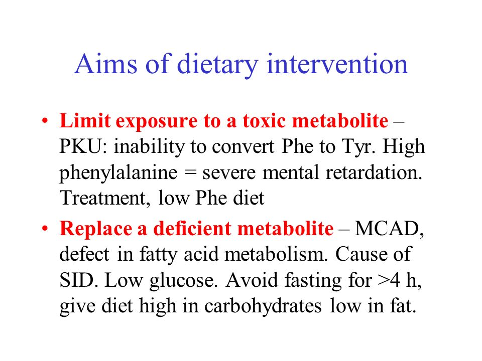 Aims of dietary intervention
