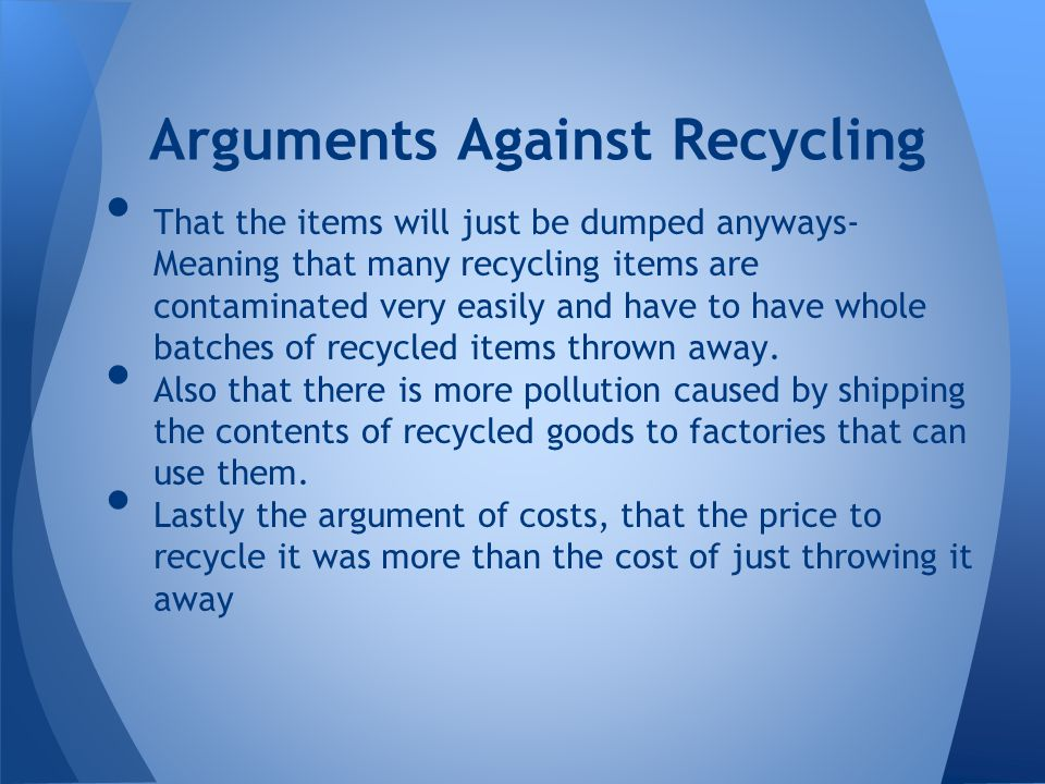 an argument against pollution The pollution solution: a critique of dore's response to the argument from evil there are indeed other lines of argument that can be brought against the pollution.