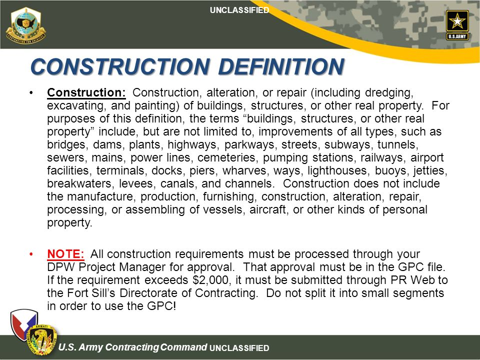 Mission and installation contracting command ppt download for Definition construction