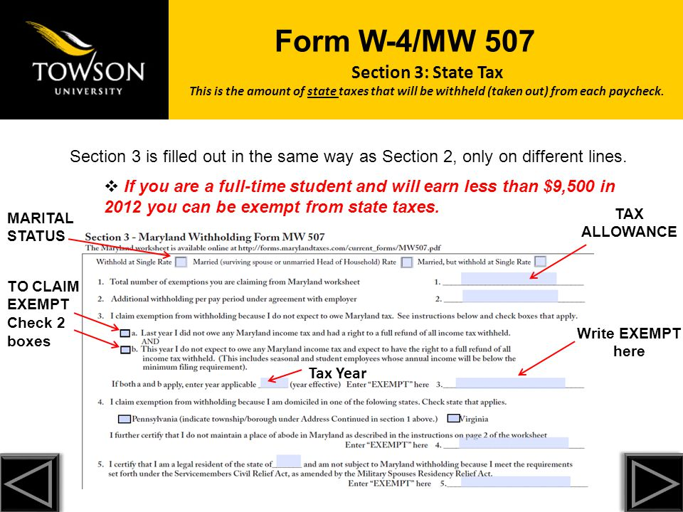 Towson University cannot legally tell you how to complete Form W4 ...