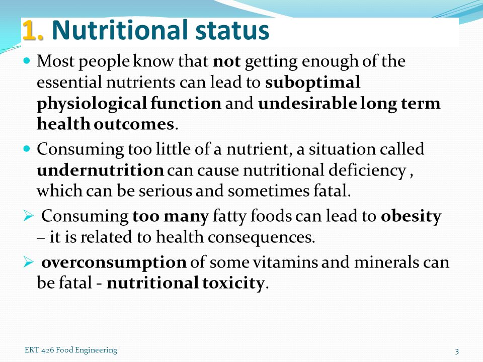 Effects of nutritional status on the